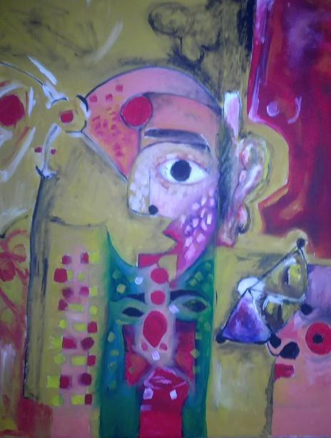 لوحة العدد السادس عشر للفنان الموهوب حيدر سالم اسكندر بعنوان ( عوالم من طفولتي)